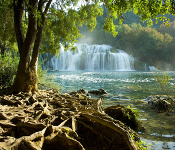national park Krka whit beautiful waterfalls